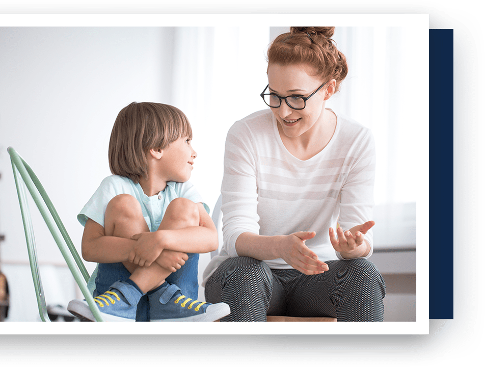ABA therapist with child